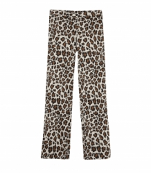 Broek ALIX The Label Leopard Print | Ladies knitted wide leg pants Animal Light Camel