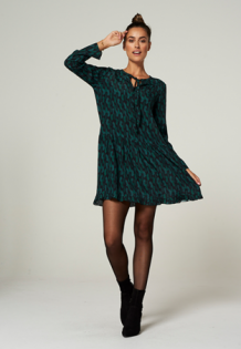 Jurk AAIKO Amsterdam MILENA Veren Groen Zwart | Dress Feather Green Black