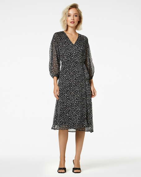 Jurk Freebird Icons Hela Animal Print Leopard Ice Blue Midi Dress