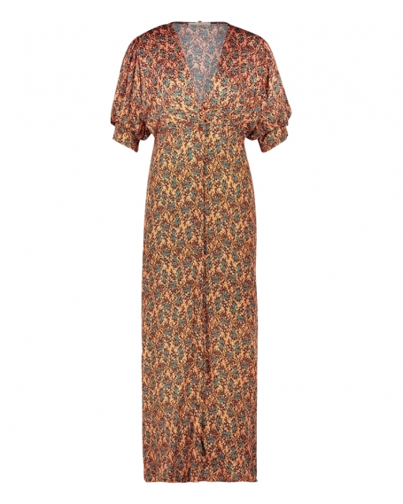 Jurk Freebird Icons Kaaja Maxi Dress Short Sleeve Print Oranje Leaf Orange Dress