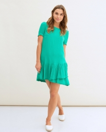 Jurk Freebird Icons Tessa Crepe Short Sleeve Uni Dress Green