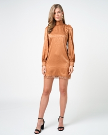 Jurk Freebird Tracey Long Sleeve Mini Dress Bronze
