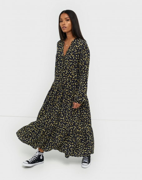 Jurk MOSS Copenhagen Calina LS Dress AOP Blue Flower