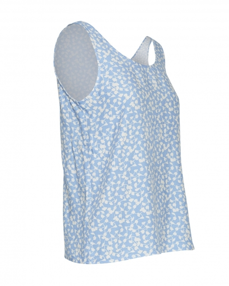 Top MOSS Copenhagen Elliane Leia SL Top AOP V Blue Flower